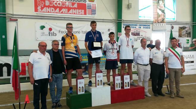 podio matteo vercelli italiani under 15 bocce 2019