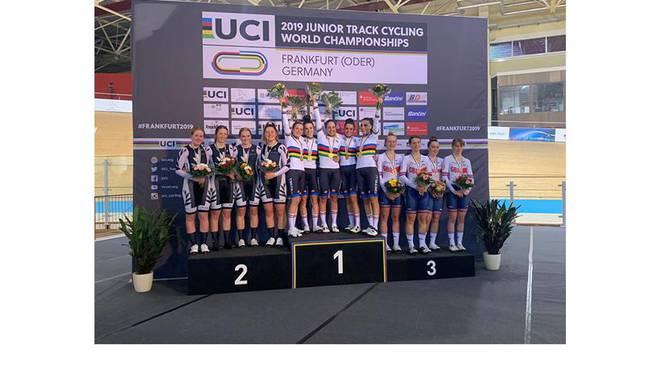 podio mondiali su pista 2019  squadra juniores con matilde vitillo