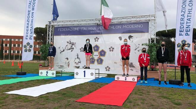 podio allara annachiara trofeo nazionale esordienti a pentathlon